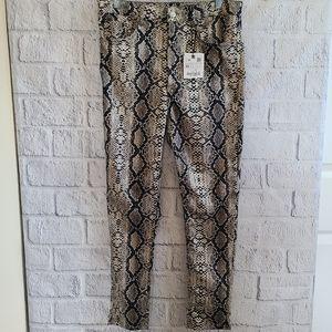 Zara Denim Collection Animal Snake Skin Print High Rise Skinny Jeans SZ 10 NWT